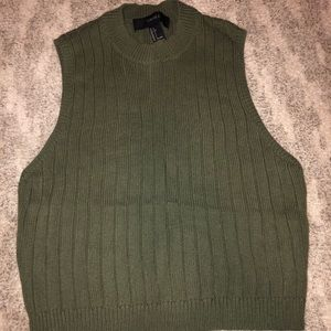 Olive green cropped sweater tank